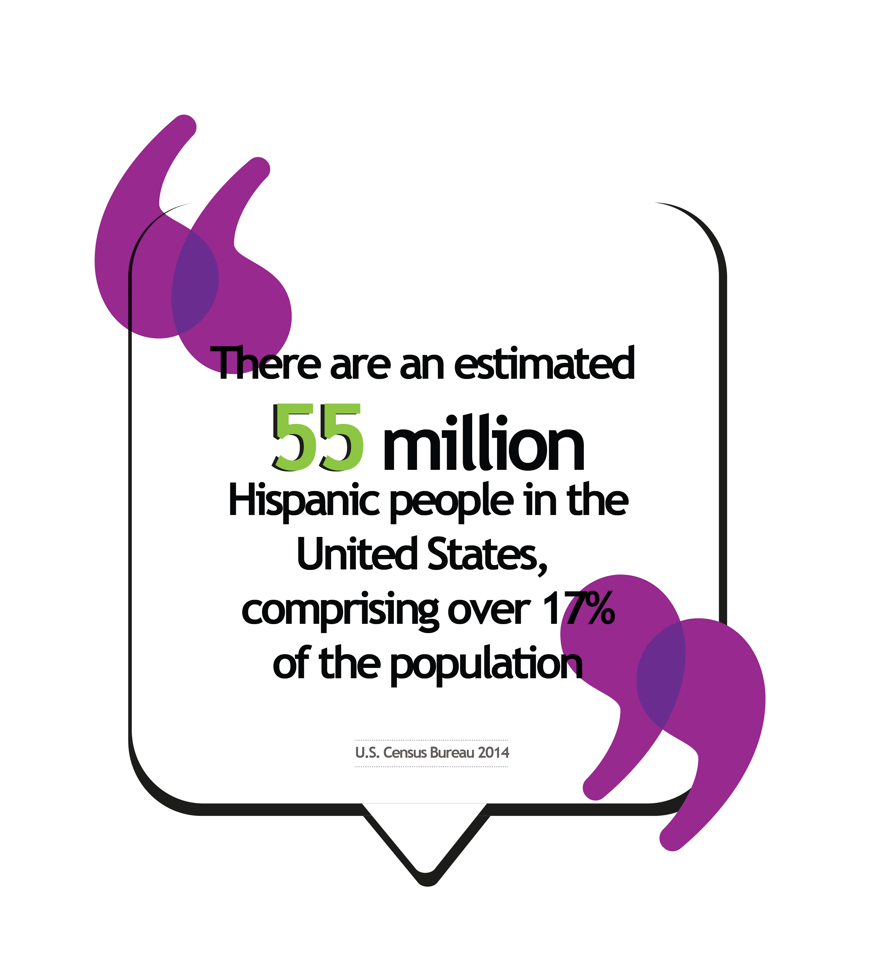 There are an estimated 55 million Hispanic people in the United States, comprising over 17% of the population.